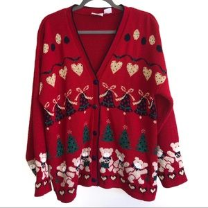 Vintage Nut Cracker Christmas Cardigan Sweater